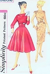 1960s Cocktail Party Special Occasion Dress Pattern Bateau Cowl Neckline Slim or Full Circle Skirt and Cummberbund Simplicity 3282 Vintage Sewing Pattern Bust 34 FACTORY FOLDED