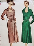 1950 STUNNING Dress Pattern SIMPLICITY 3314 Striking Horse Shoe Neckline Dramatic Stand Up Collar Slim Skirt Flares Gracefully to One Side Bust 42 Vintage Sewing Pattern