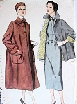 FAB 1950s Flare Back Coat or Topper Jacket Pattern SIMPLICITY 3342 Lovely Wide Cuffs Bust 31 Vintage Sewing Pattern FACTORY FOLDED