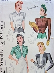 1940 LOVELY Bolero Jackets and Blouse Pattern SIMPLICITY 3366 Blouse and 3 Wonderful Style Versions Bust 34  SIMPLE To Make Vintage Sewing Pattern