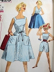 1960s Beach Weekend Wear Pattern Simplicity 3423 Vintage Sewing Pattern Summer Separates Playsuit Resort Wear, Back Wrap Flared Skirt ,Top and Shorts Bust 34