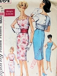 1960 SIMPLICITY 3464 PATTERN SIMPLE TO MAKE SLIM COCKTAIL DRESS SHORT JACKET CUTE PERKY STYLE
