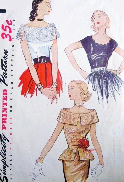 1950s Glamorous Evening Blouses Pattern Simplicity 3558 Detachable