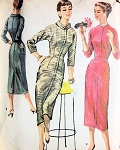1950s CHIC Slim Day or After 5 Dress Pattern McCALLS 3568 Two Fab Styles Figure Show Off  Dress Bust 30 Vintage Sewing Pattern