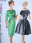 1960s MAD MEN Cocktail Dinner Party Pattern SIMPLICITY 3592 Slim or Full Skirted Dress Bust 32 Vintage Sewing Pattern
