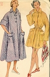 1950s BEACH COVER UP Robe House Coat Pattern SIMPLICITY 3592 Two Lengths Bust 30 Vintage Sewing Pattern
