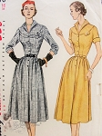 1950s FLATTERING Dress Pattern SIMPLICITY 3670 Round Yoke Wing Collar Front Button Dress Bust 38 Vintage Sewing Pattern