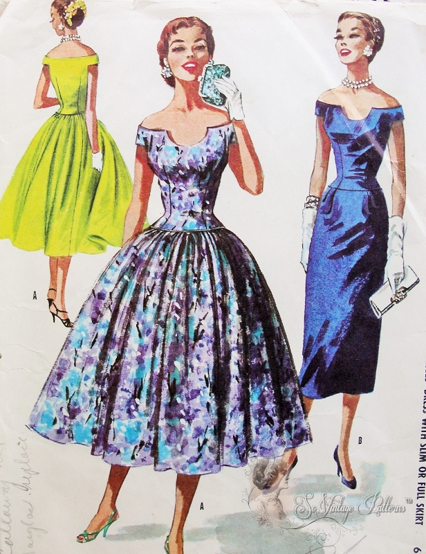 1950s Striking Evening Cocktail Dress Pattern Off The
