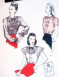 1940s Beautiful Blouse Pattern Butterick 3694 Three Unique Styles Includes Frilly Jabot Version Bust 32 Vintage Sewing Pattern FACTORY FOLDED