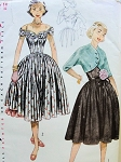 1950s PRETTY PARTY DRESS, BOLERO, PETTICOAT PATTERN LOVELY DRAPED NECKLINE ON or OFF SHOULDERS SIMPLICITY PATTERNS 3752