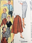 1950s Slim Wiggle or Full Skirt Pattern McCalls 3807  Includes Matching Sweater Trims MADEMOISELLE EDITORS CHOICE Waist 28 Vintage Sewing Pattern