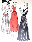 1940s Butterick 3836 Evening Gown Pattern FILM NOIR  BASQUE Bodice Low Wide Neckline Flirty Peplum Glam Style QUICK n EASY Bust 30 Vintage Sewing Pattern