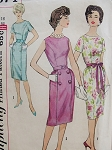 1960 CHIC Slim Dress Pattern SIMPLICITY 3874  Classy Mad Men Princess Seam Fitted Sheath Dress Bust 34 Vintage Sewing Pattern FACTORY FOLDED