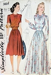1940s BEAUTIFUL EVENING BLOUSE, SKIRT PATTERN DAY or EVENING LENGTH SIMPLICITY PATTERNS 3884