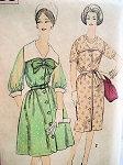 1960s BUTTON FRONT DRESS PATTERN SLIM or FLARED