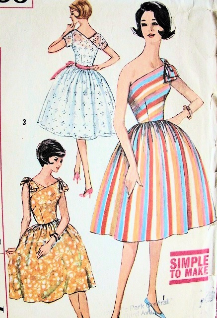 1960s Cocktail Party Dress Pattern Simplicity 3906 One