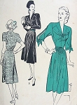 1940s SOFT DRESS PATTERN LOVELY STYLES SPLIT SLEEVES BUTTERICK 3927