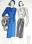 1940s BUTTERICK 3929 PATTERN 2 PC SUIT DRESS CLASSY SIDE CLOSING SHORT FITTED JACKET TOP PEG TOP SKIRT