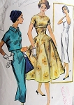 1950s McCALLS 3963 Vintage Sewing Pattern Cocktail Party Dress Rockabilly Bateau Neck,Low Scoop Bare Back Empire Waist Sheath Dress or Fit and Flare Gored Evening Dress, Cropped Kimono Sleeve Jacket Bust 34 UNCUT