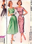 1950s Lovely Full or Slim Skirt Dress Pattern McCalls 3971 Rockabilly Bombshell Evening Cocktail Cutout or Regular Neckline Bust 36 Vintage Sewing Pattern