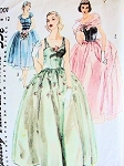 1950s BEAUTIFUL EVENING GOWN PATTERN SCARF, DETACHABLE OVERSKIRT SIMPLICITY 4001