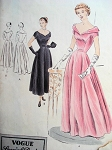 1940s Beautiful Evening Gown Pattern Vogue Special Design 4042 Wide Open Low Neckline Figure Flattering Style Bust 32 Vintage Sewing Pattern