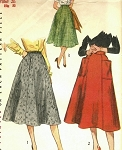 1950s CLASSY Flared Skirt Pattern SIMPLICITY 4083 Unique Patch Pockets Three Panelled Skirt Waist 24 Vintage Sewing Pattern