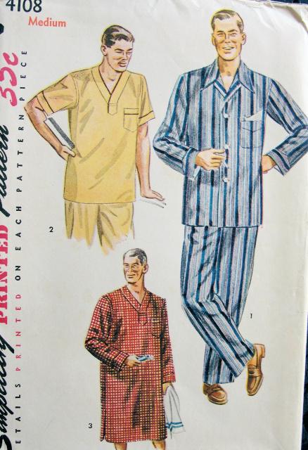 1950s Dapper Mens Pajamas Nightshirt Pattern Simplicity