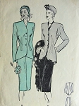 1940s BUTTERICK 4108 SUIT PATTERN FITTED CUTAWAY JACKET, GRACEFUL SWALLOWTAIL, SLIM 5 GORE SKIRT