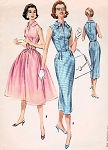 1950s SLIM or FULL SKIRT DRESS PATTERN SLIT NECKLINE, ROCKABILLY STYLES, GREAT FOR SHEER FABRICS McCALLS 4115 Vintage Sewing Pattern