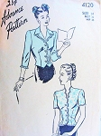 1940s STYLISH Overblouse Pattern ADVANCE 4120 Two Lovely Blouse Styles Day or Evening Bust 32 Vintage Pattern