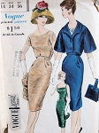 1960 CLASSY SLIM COCKTAIL DRESS OVERBLOUSE, JACKET PATTERN VOGUE SPECIAL DESIGN 4128