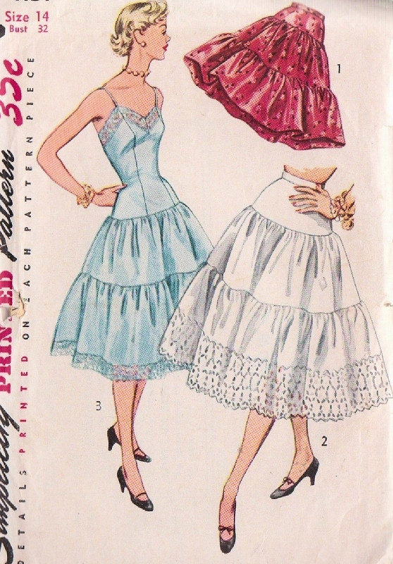c5c36332bcc7a 1950s PRETTY Slip and Petticoat Pattern SIMPLICITY 4137 Tiered Full Slip or  Half Slip Crinoline Lingerie Bust 34 Vintage Sewing Pattern