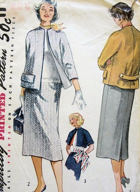 1950s Slim Suit Pattern Straight Jacket Kimono Sleeves