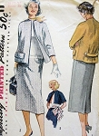 1950s SLIM SUIT PATTERN STRAIGHT JACKET, KIMONO SLEEVES SIMPLE TO MAKE  SIMPLICITY 4171