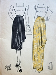 1940s BEAUTIFUL EVENING or DAY TIME SKIRT PATTERN CLASSY SIDE CASCADE  DRAPERY, QUICK n EASY BUTTERICK 4206