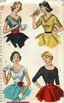 1950s LOVELY Scoop  or V Neckline Blouse Pattern SIMPLICITY 4213  Four Flattering Style Simple To Make  Bust 32 Vintage Sewing Pattern