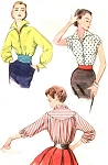 1950s STRIKING Wing Collar Blouse and Cummerbund Pattern SIMPLICITY 4237 I Love Lucy Style Bust 32 Vintage Sewing Pattern