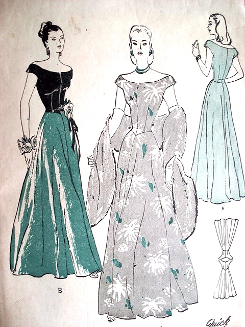 1940s Stunning Evening Gown Pattern Butterick 4268 Portrait Off ...