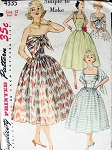 1950s COCKTAIL PARTY DRESS PATTERN STRAPLESS, ATTACHED SCARF SIMPLICITY 4335