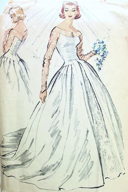 1950s Dreamy Wedding Gown Bridal Dress Pattern