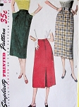 1950s STYLISH Slim Skirts Pattern SIMPLICITY 4377 Two Styles Waist 28 SIMPLE TO MAKE  Vintage Sewing Pattern