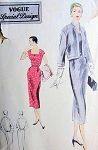 1950s SLIM DRESS, JACKET PATTERN FLATTERING SQUARE NECKLINE VOGUE SPECIAL DESIGN 4381