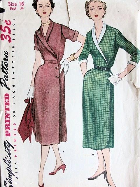 40S VINTAGE SILM WRAP AROUND DRESS PATTERN SIMPLICITY 40 Simple Vintage Dress Patterns 1950s