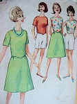 1960s Beach Wear Weekend Wear Pattern Top, Skirt and Jamaica Shorts Simplicity 4437 Vintage Sewing Pattern Bust 32 UNCUT