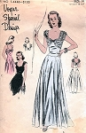 1940s LOVELY EVENING GOWN PATTERN SHIRRED SLEEVES BODICE VOGUE SPECIAL DESIGN 4446
