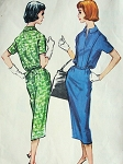 1950s SLIM DRESS PATTERN SLIT NECKLINE McCALLS 4463