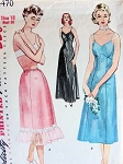 1950s  Slips Pattern Simplicity 4470  Three Liz Taylor Cat on a Hot Tin Roof  Styles Shaped Bust Full Slip, Evening Length Formal Slip  Chiffon Ruffle Trim Half Slip Lingerie Vintage Sewing Pattern Bust 38