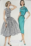 1950s SLIM or FULL SKIRTED DRESS PATTERN  VERY PRETTY BODICE McCALLS 4513
