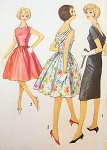 1960s Mad Men Cocktail Party Dress Pattern Lovely Draped Cowl Back Slim or Full Skirt Styles Simplicity 4517 Vintage Sewing Pattern Bust 32